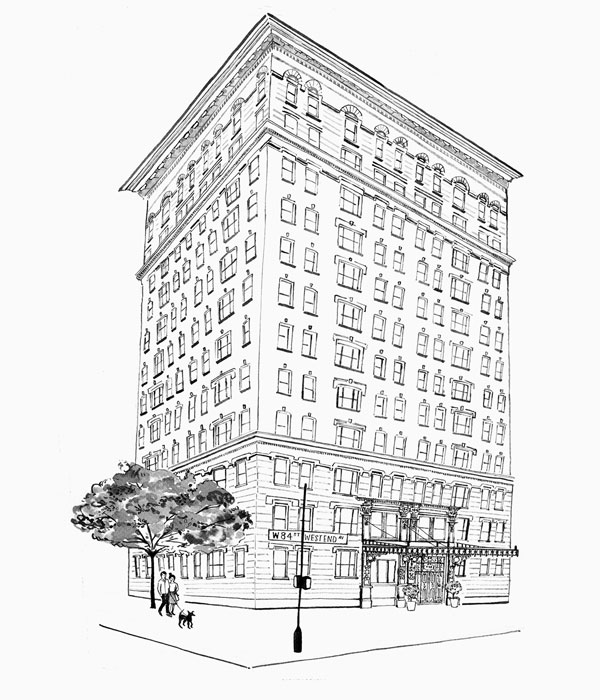 Line Drawing, 498 West End Avenue, New York, NY